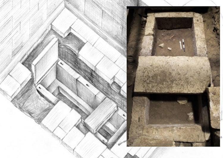 Skeleton found inside Limestone Sarcophagus in Amphipolis Tomb