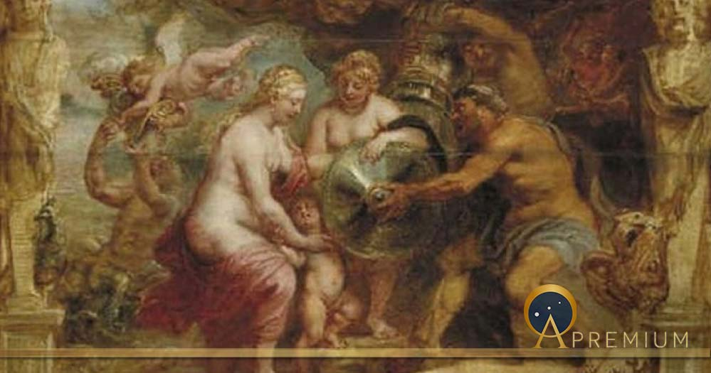 Thetis receiving the arms of Achilles from Hephaestus by Peter Paul Rubens (1630)     Museum Boijmans Van Beuningen (Public Domain)