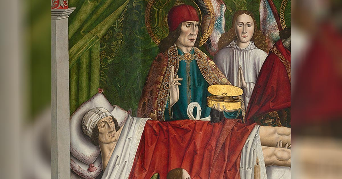 "Detail of ""A verger's dream: Saints Cosmas and Damian performing a miraculous cure by transplantation of a leg.' Master of Los Balbases, ca. 1495. Source: Public Domain"