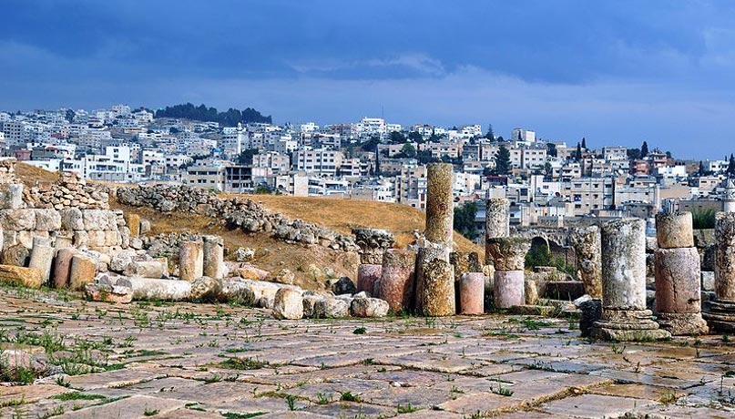 The ancient city of Gerasa with the modern city in the background.