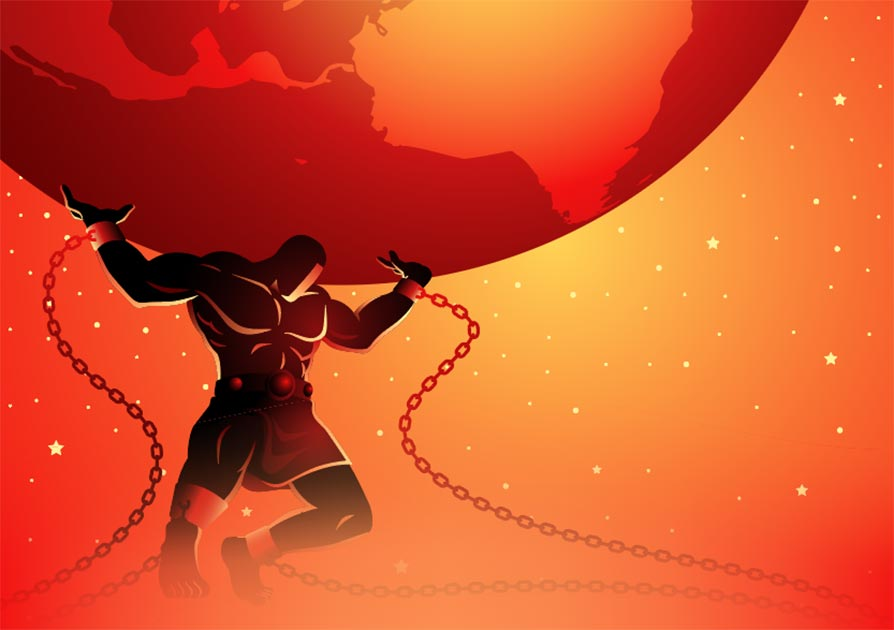 Atlas was tasked with supporting the world on his shoulders. Source: rudall30 / Adobe Stock.