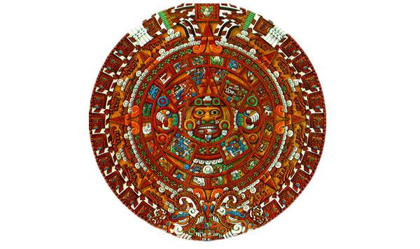 A coloured rendition of the Sun Stone Calendar - Atzec