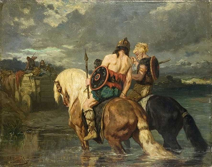Goths cross a river by Évariste-Vital Luminais.