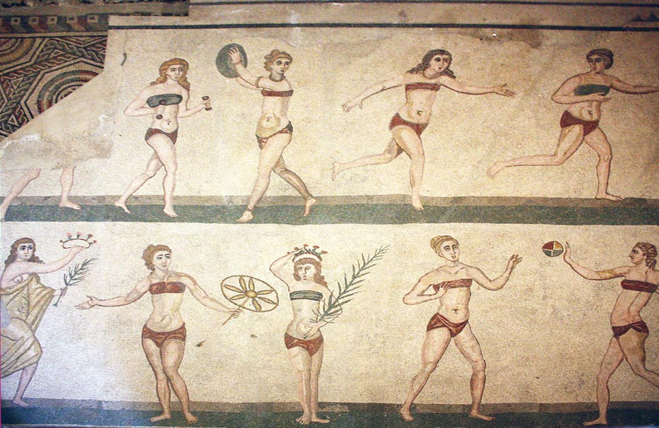 Mosaic of the 'bikini girls' from the Villa Romana del Casale, Piazza Armerina, Sicily.