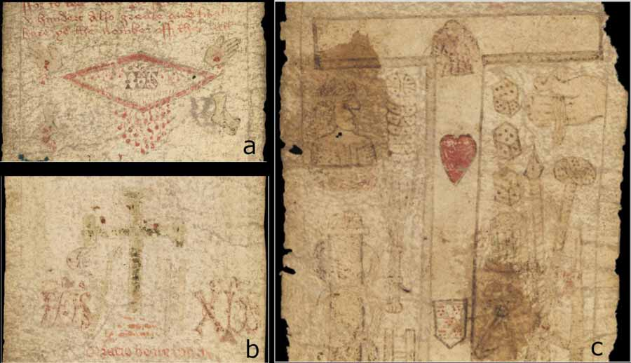 Images of the MS. 632 birthing girdle. a) The dripping side-wound. b) The rubbed away green cross or crucifix. c) Tau cross with red heart and shield.  Source: Courtesy of the Wellcome Collection