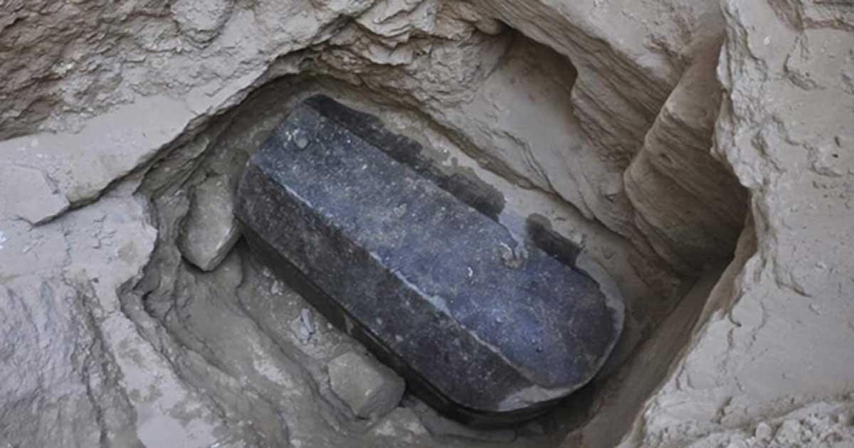 Black stone sarcophagus found at Alexandria