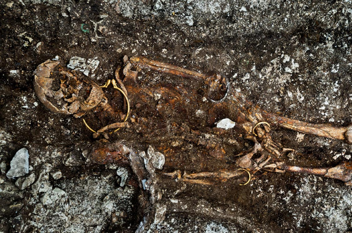 Remains of the body with the golden torc visible around the neck