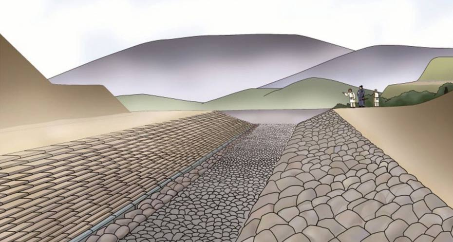 An artist rendering of how the burial mound of Asuka originally looked