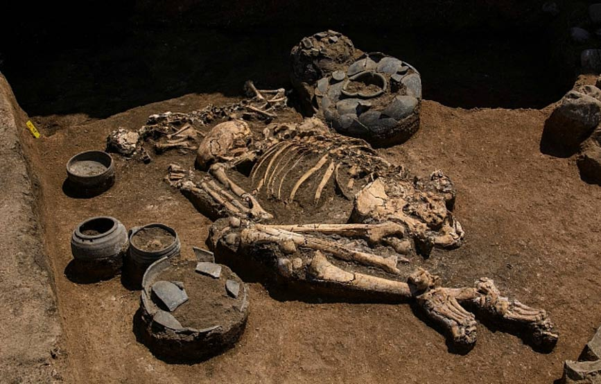 One of the burials at Didnauri, the largest Bronze Age settlement ever discovered in the southern Caucasus. This burial predates the 3,100-year-old wall around the settlement by about about 200 years