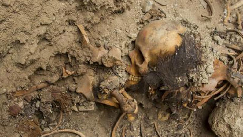 Photo of one of the burials discovered at Chan Chan, Peru.
