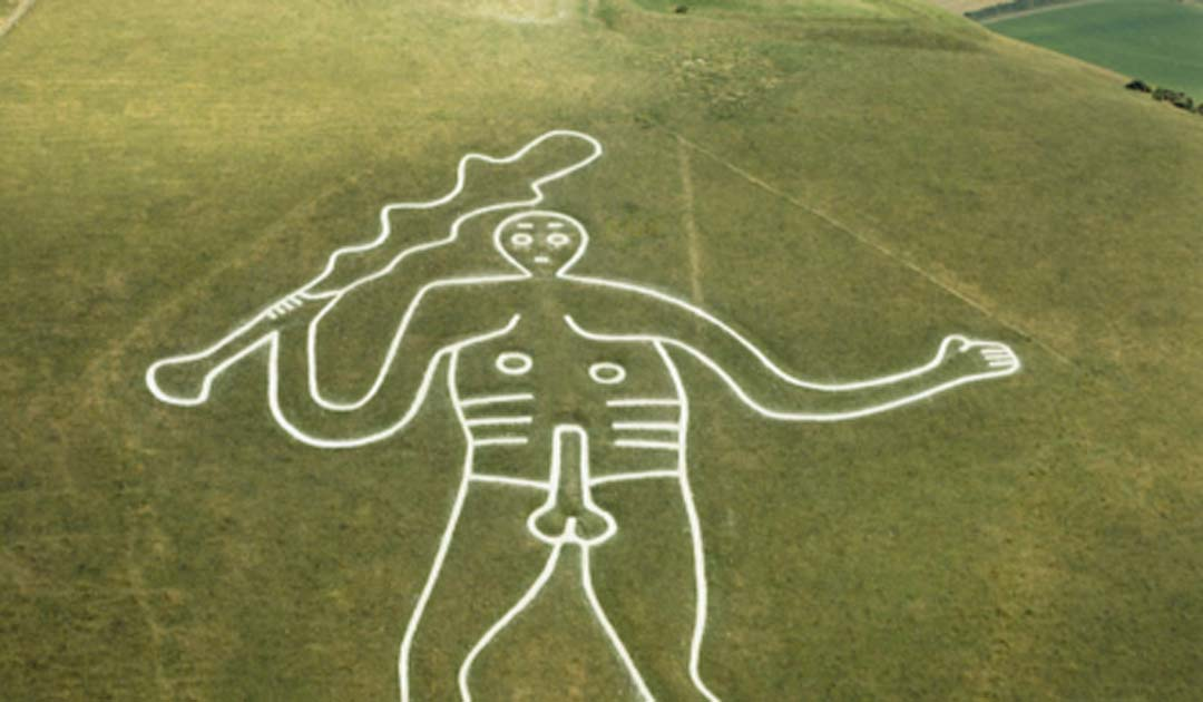 The Cerne Giant is being re-chalked to return him to his former glory. Source: Dorset Council/CC BY NC SA 2.0