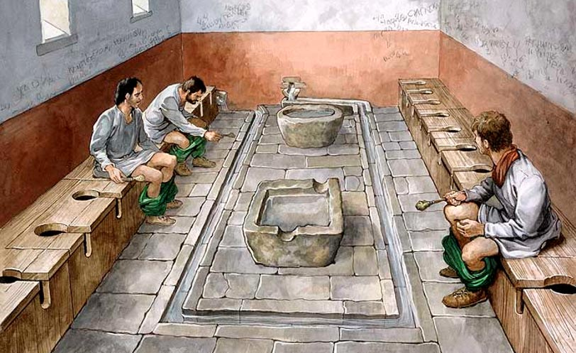Reconstruction drawing of the communal latrines at Housesteads Roman fort (Vercovicium) on Hadrian's Wall. This site is now in the care of English Heritage (2010).