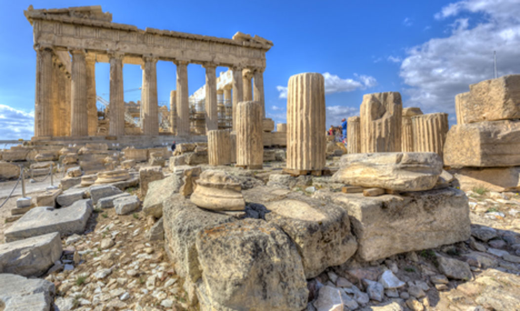 An example of ancient Greek construction is this Parthenon temple on the Acropolis of Athens. Source: anastasios71 / Adobe Stock.
