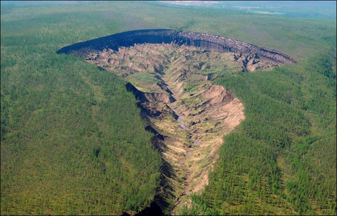 Batagaika started to form in 1960s after a chunk of forest was cleared: the land sunk, and has continued to do so, evidently speeded by recent warmer temperatures melting the permafrost