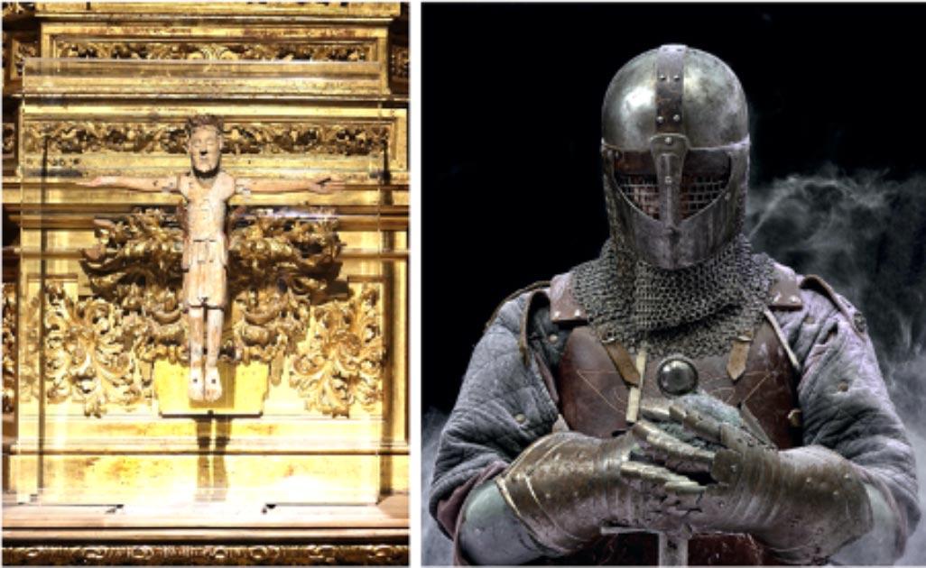 El Cid's crucifix, Cristo de las Batallas. (Garciadelosbarros / CC BY-SA 4.0)       Right: Representation of a knight. (Marla / Adobe stock)