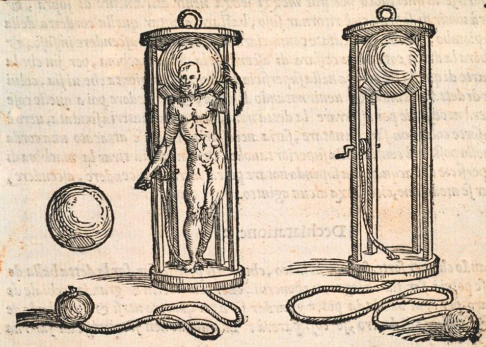 An early diving bell used by 16th Century divers during salvage operations. The book this came from is a text on ship salvage and includes diving information.
