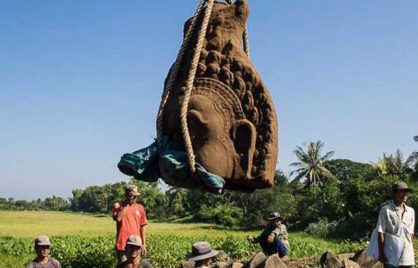 Three enormous statue heads unearthed at Banteay Chhmar temple, Cambodia