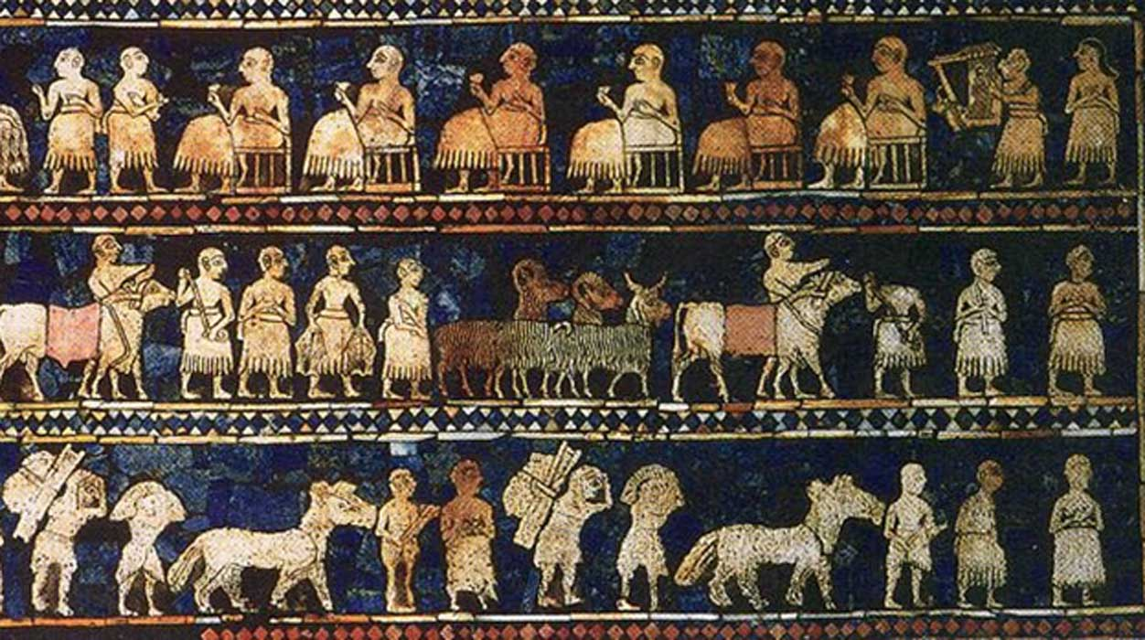 From the royal tombs of Ur, the Standard of Ur mosaic, made of lapis lazuli and shell, shows peacetime.