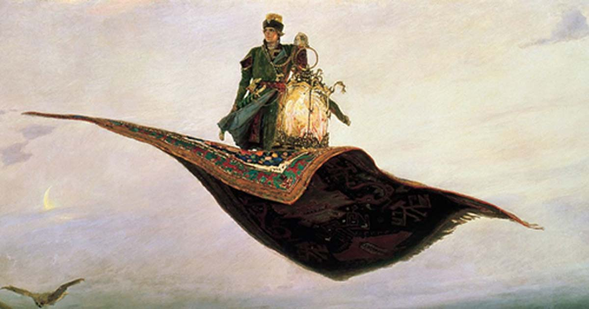 The Flying Carpet, a depiction of the hero of Russian folklore, Ivan Tsarevich by Victor Vasnetsov, 1880.