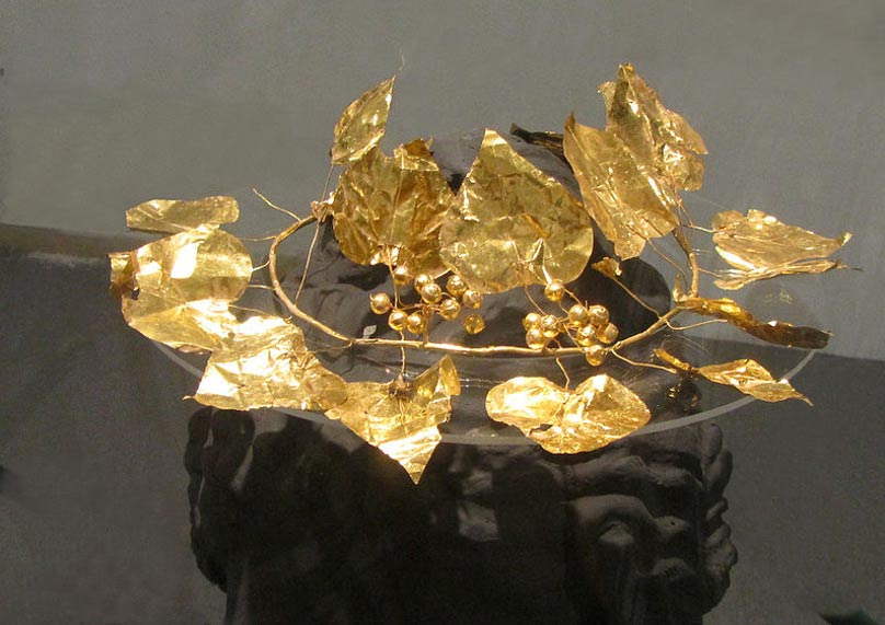 The detailed golden ivy wreath from the rich tomb discovered in Soloi, Cyprus.