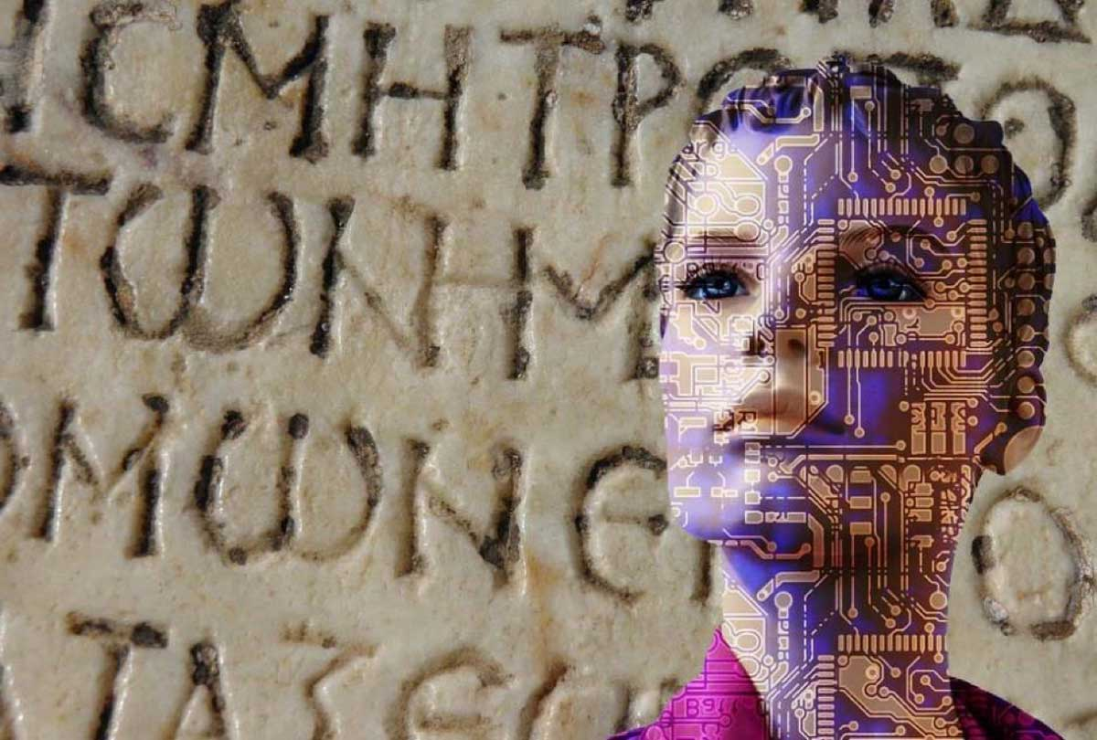 AI (Pixabay License) is deciphering ancient Greek texts (Pixabay License) faster than humans.