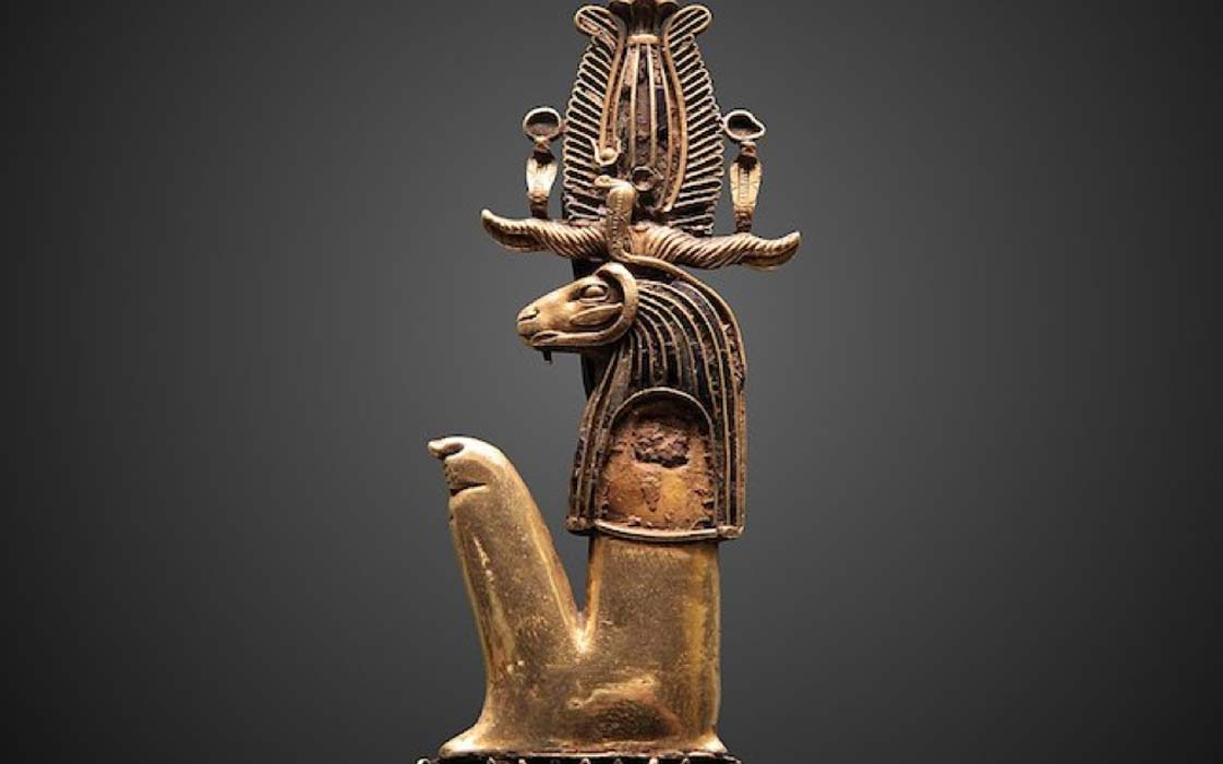 Heryshaf depicted as a ram wearing symbolic headdress. (Rama / CC BY-SA 3.0)
