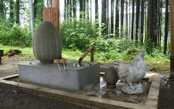 The holy egg at the Kunigami Shrine for healing haemorrhoids