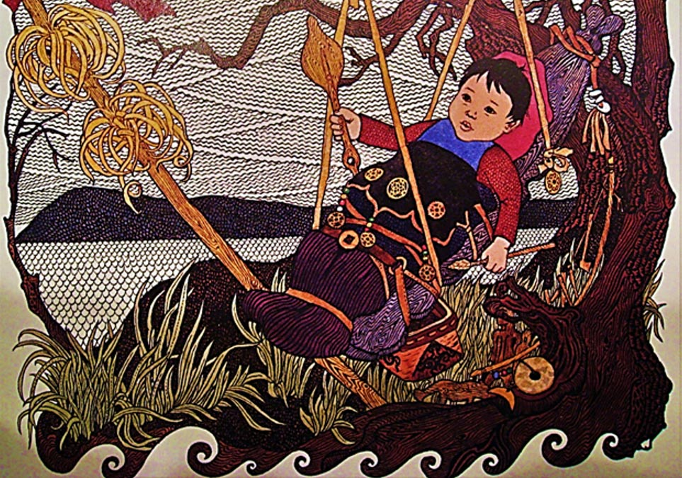 An illustration by Gennady Pavlishin from the book Folktales of the Amur: Stories from the Russian Far East showing a little baby, Azmun, found on an island in the river, who grows up to become a hero. This type of foundling-hero story has been told worldwide.
