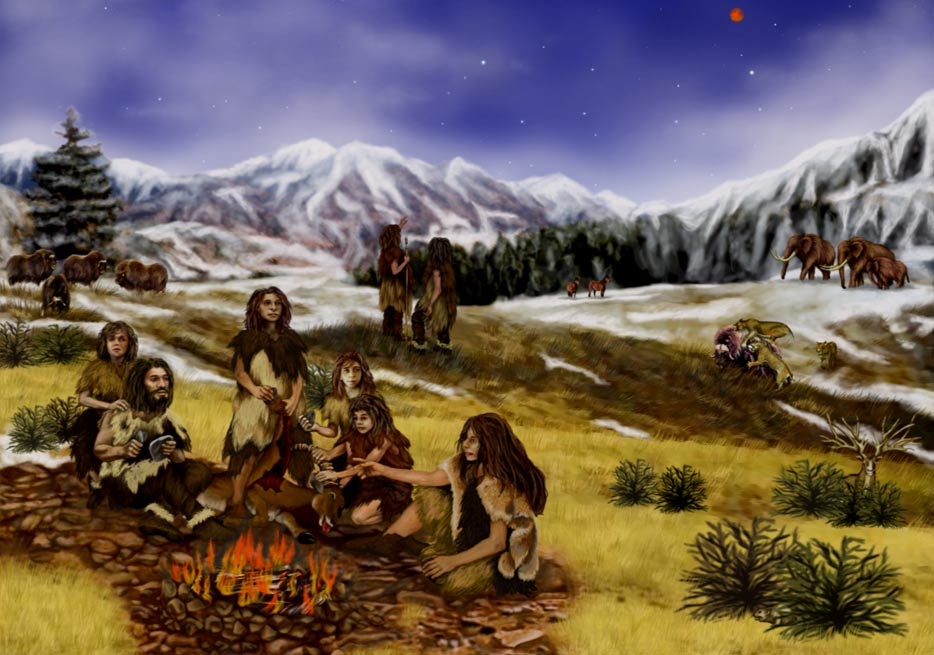 An artist's impression of life in the Stone Age