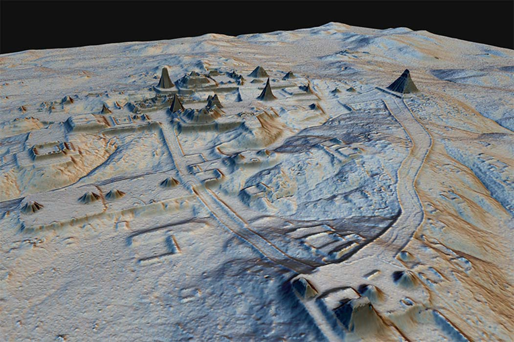 LiDAR image revealing Maya structures beneath the jungle canopy in Guatemala
