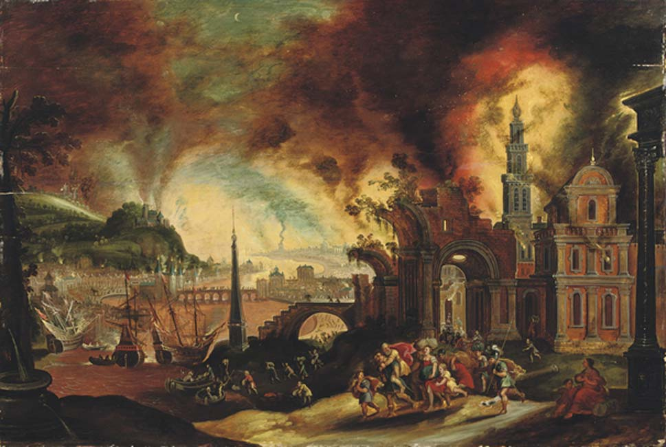 Aeneas carrying his father Anchises from the burning city of Troy' (1627-1664) by Daniel van Heil. Details in the Iliad cast doubt on the generally accepted location of Troy. Source: Public Domain