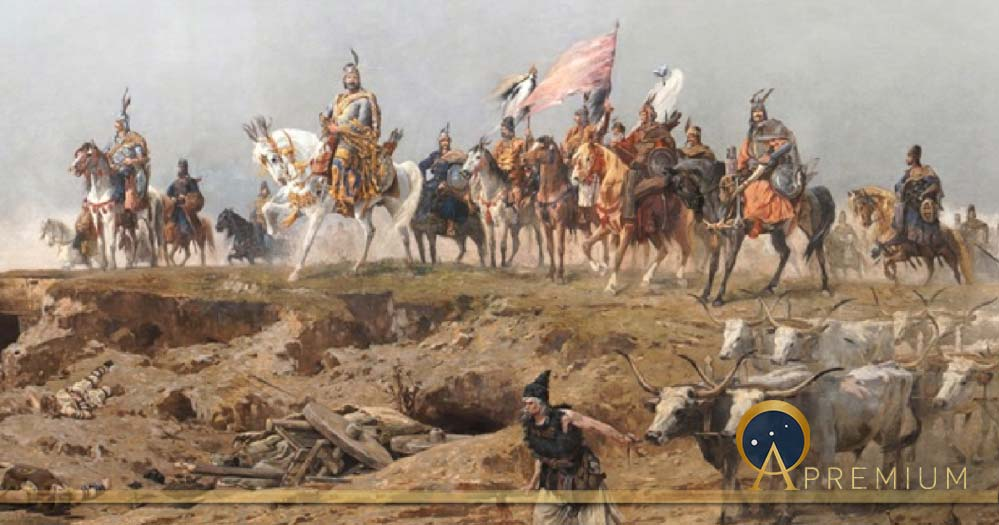 Grand Prince Árpád crossing the Carpathians.Árpád Feszty's cyclorama titled the Arrival of the Hungarians. by Feszty vezerek (1892) (Public Domain)