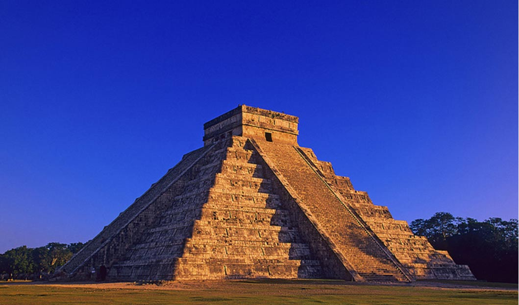 The pyramid of El Castillo, Temple of Kukulkan in Chichen Itza, Mexico.