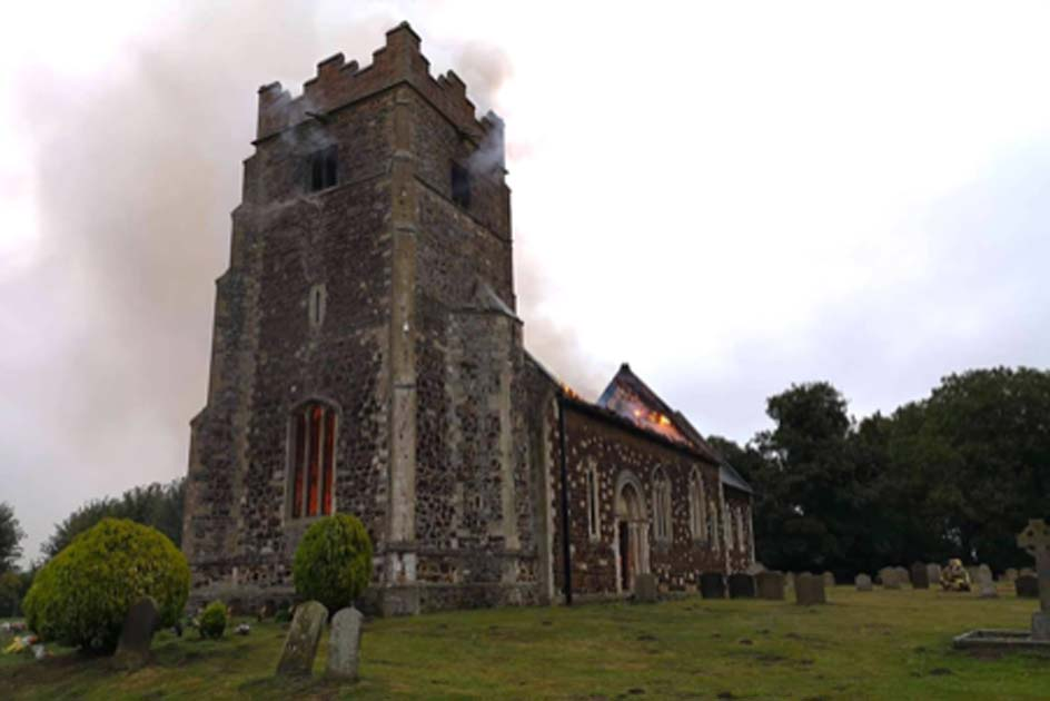 : The blaze at the medieval church in Wimbotsham. Source: Norfolk Fire & Rescue Service / Facebook.