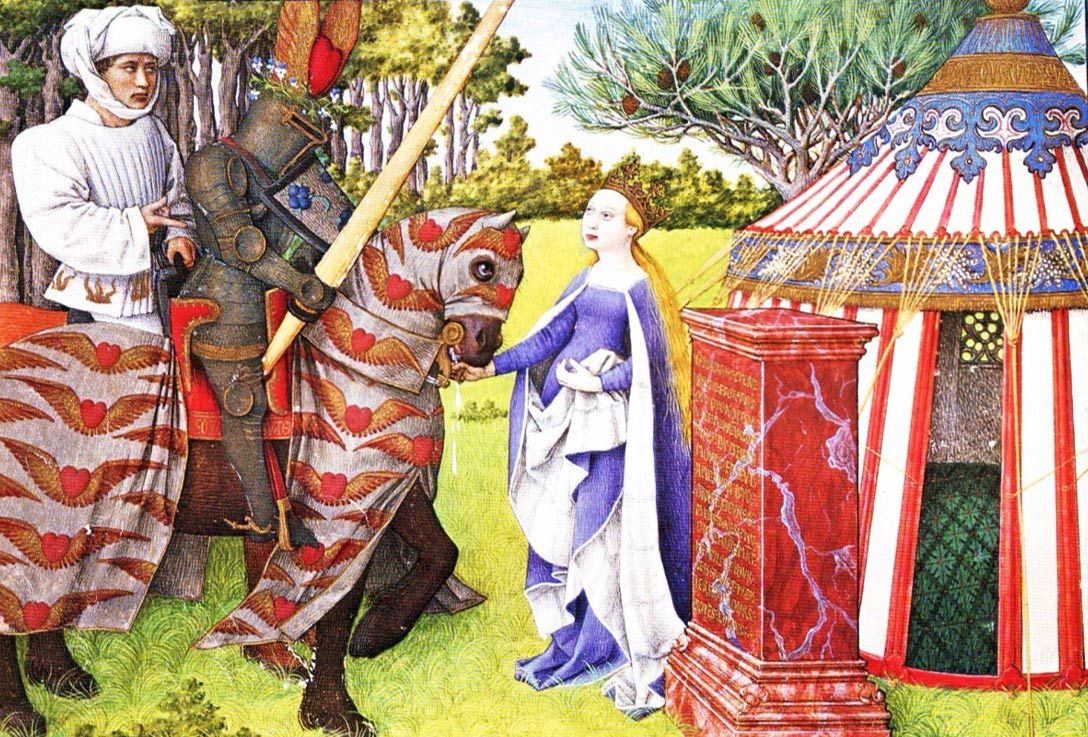 The medieval manuscript King René's Book of Love, written by that 15th century king of Sicily and Duke of Anjou himself, beautifully illustrates knighthood and chivalry