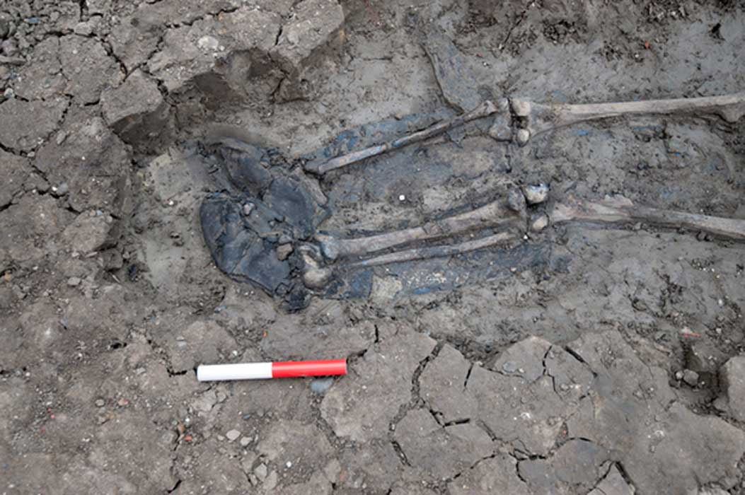 The Medieval skeleton was found still in its boots
