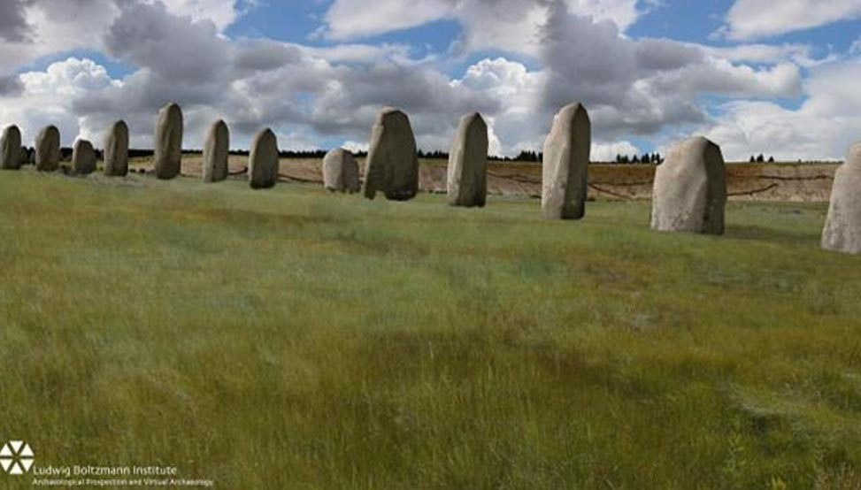 A reconstruction depicting how the row of megalithic stones would have looked.