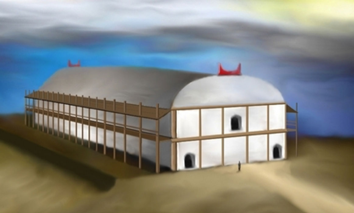 "Reconstruction of the Temple from Nebelivka, Ukraine. c 4000 BC Trypillian (Danube) civilization. 60x20m size. Based on information from ""Temple on Nebelivka mega-site: reconstruction"" by Nataliia Burdo, Mykhailo Videiko, Institute of Archaeology NAS of Ukraine, Kyiv. Source: Kenny Arne Lang Antonsen/CC BY SA 4.0"