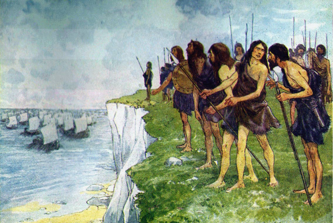 The Roman conquerors are waited for by the men of Albion.