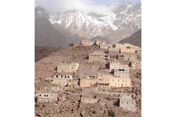 Village in Morocco on rock avalanche
