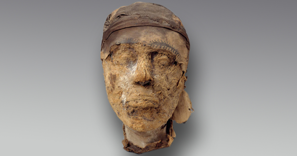 The mummified head of Djehutynakht.