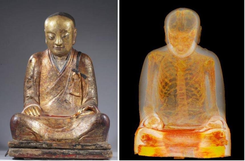 Mummified buddhist master Liuquan. Statue (L), CT scan (R). (Photos: Drents Museum)