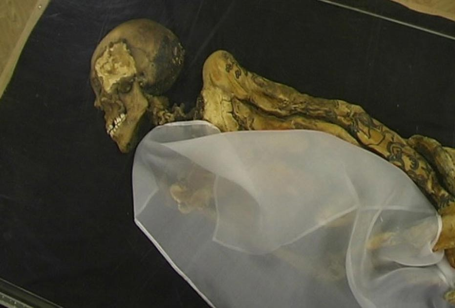 Mummy of the Ukok Princess/Siberian Ice Maiden. Tattoos line her arms.