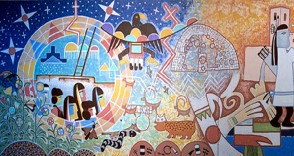 Mural artwork about Hopi emergence and migration
