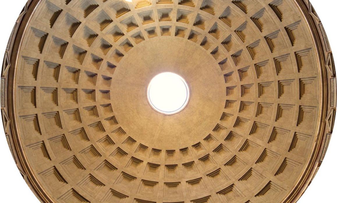 The Pantheon dome. The concrete for the coffered dome was poured in moulds, probably mounted on temporary scaffolding.
