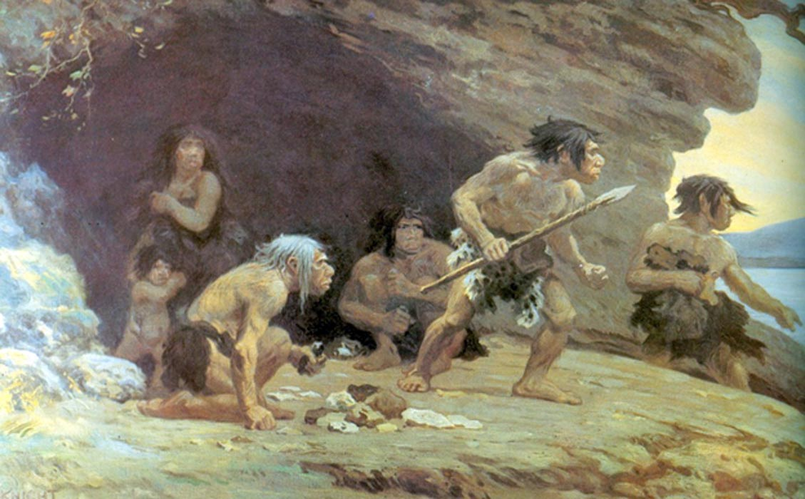 Painting of Neanderthals by Charles Robert Knight, 1920