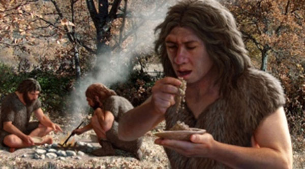 Neanderthals Cooking Food