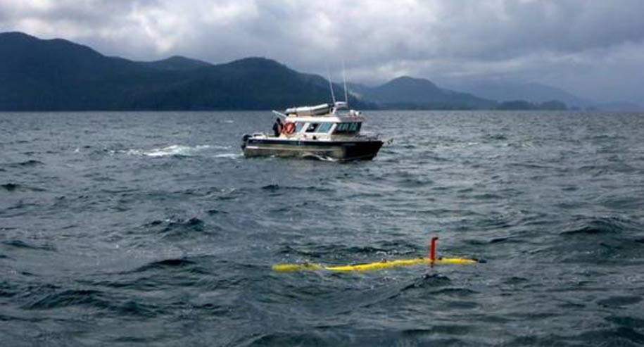 Researchers probe the ocean floor in Juan Perez Sound with University of Victoria's AUV