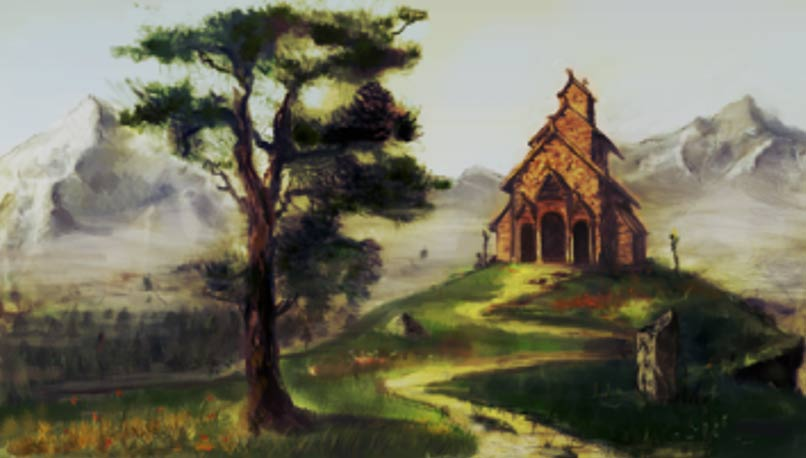 Artist's rendering of the hof, a pagan temple, in Uppsala, Sweden.