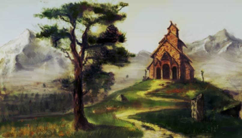 Artist's rendering of the hof, a pagan temple, in Uppsala, Sweden.